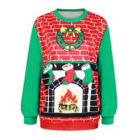 Winter Women's Fashion Christmas Hot Sale Stylish Print Ugly Christmas Sweater Plus Size Hoodies [9440720068]