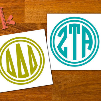 Any Greek Letters Monogram Decal Sticker  - Circle Monogram Greek - Sorority Decal - Custom Greek Letters - Big and Little gift - car decal