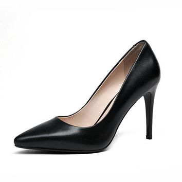 Leather High Heel Shoes Woman Pointed Toe Less Pumps