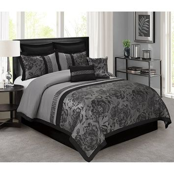8 Piece Tang Jacquard Fabric Patchwork Comforter Set Queen King CalKing Size In Gray Color