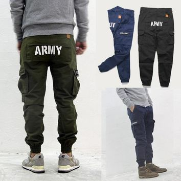 Hip Hop Mens Skinny Cargo Pants Black Blue green Joggers With Pockets On Side For Men Chino Pant