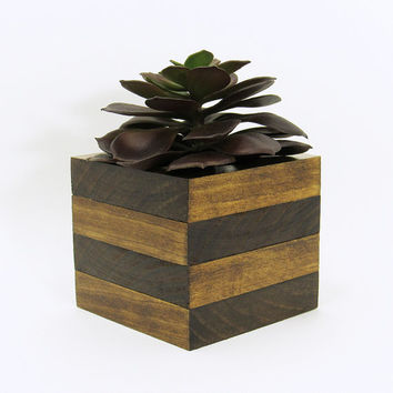 Large Wood Succulent Planter, Modern Cube Plant Holder, Wooden Indoor Garden Planter Box, Office Planter, Cactus Planter, Rustic Planter