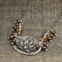 Lotus flower necklace, pearls, topaz Swarovski crystal, silver chain adjustable clasp