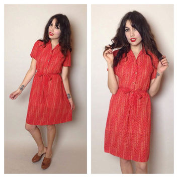 vintage RED MIDI DRESS - abstract floral - buttons - matching belt - small/medium