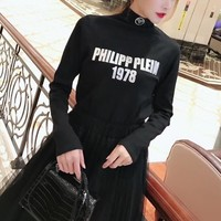 philipp plein women all match fashion letter long sleeve turtleneck t shirt bottoming tops