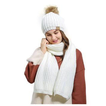 Women's Knitted Scarf Winter Hat Crochet Hat Warm Scarf and Hat Set
