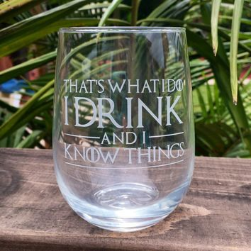 Elegant Wine Glass with Game of Thrones Quotes, Hand Etched