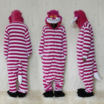 Polar fleece New Arrival Winter Unisex Animal Onesuit Pajamas Cosplay Costume Animal Pajamas Adult Sleepwear Cheshire Cat Onesuit