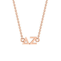Delta Zeta Rose Gold Horizontal Lavalier, Available in all Sororities!
