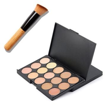 15 Colors Face Makeup Concealer Contour Palette + Makeup Brush