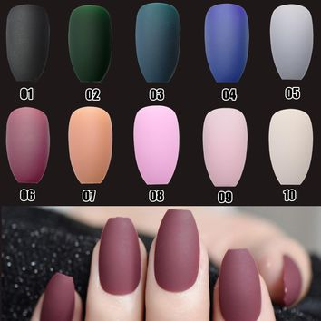 Coffin Fake Nails Matte Red Wine Frosted Press On Nails Coloured Pink Black Wholesale False Nails Many Colors