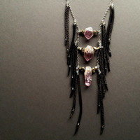Anasazi- Tribal Breastplate Necklace with Raw Amethyst, Pyrite, and Black Deer Leather Fringe