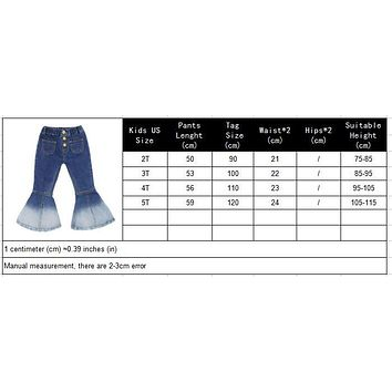 Girls fashion boot cut jeans Cowboy wide leg metal buttons elastic waist pants children Mermaid Splicing legs clothes