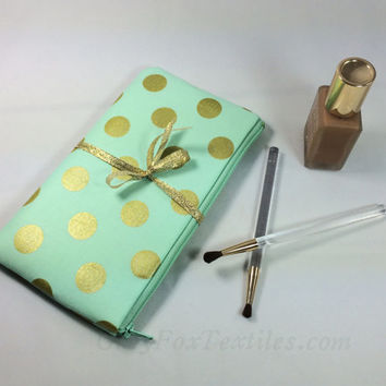 Gold polka dot pouch in mint green, clutch, pencil case, makeup brush bag, cosmetic case, smartphone sleeve, bridesmaid gift