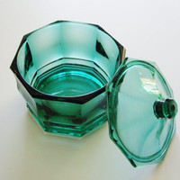 Vintage Candy Dish - Teal Hexagonal Lidded Indiana Glass Company - Great for Bathroom or Candy Table or Buffet