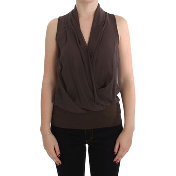 Brown Silk Sleeveless Blouse