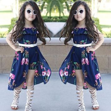 Off Shoulder Floral Print Romper Dress For Girls