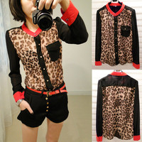 2015 Hot Sale Women Casual Chiffon Ventilate Shirts Leopard Printed Sheer Blouse Long Sleeve Shirt Top