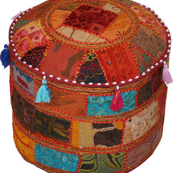 Bohemian Vintage Indian Ottoman Stool Cover Patchwork Footstool Foot Rest Decor Pouf textiles round Seating Ottoman Cover Pouf Pouffe COVER