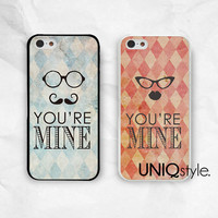 Couple Case iPhone Samsung lover phone case iphone 4 4s iphone 5 5s iphone 5c samsung s3 s4 note2 note 3 PC case, you're mine Valentine, E41