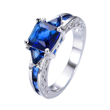 Antique Blue Square Zircon Stone Ring White Gold Filled Jewelry Wedding Bands Party Gift Finger Rings For Female Male RW0152