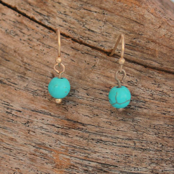 Delicate Bead Earrings, Turquoise
