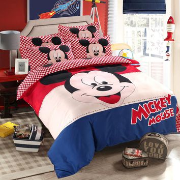 Disney minnie girls bedding set queen full single size duvet cover sheet pillow case bed linen set