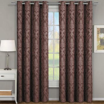 CHOCOLATE Blair Jacquard Grommet Top Curtain Panel Pair (Two Panels )