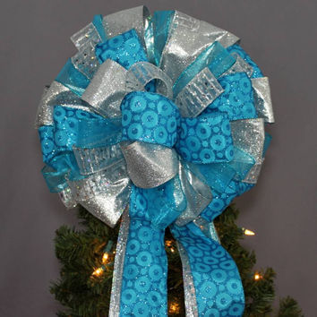 Turquoise Silver Christmas Tree Topper Bow