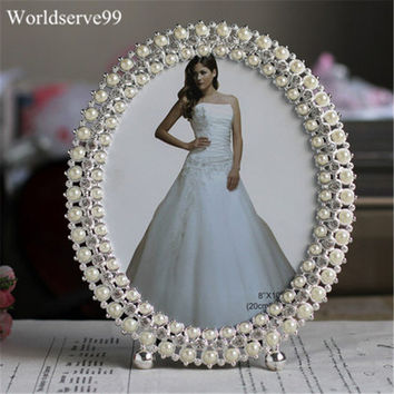8Inch Elegant Crystal Pearl Wedding Photo Frame Metal Alloy Home Decor Bridal Baby Shower Birthday Gifts