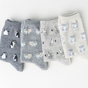 women autumn winter cute cartoon cat/rabbit/sheep animal pattern cotton socks for woman fashion socks 4pairs/lot