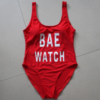 Red BAE WATCH One Piece Swimwear