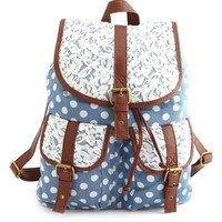 LACE TRIM CHAMBRAY POLKA DOT BACKPACK