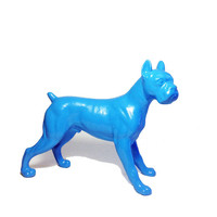 Up-cycled Blue Boxer Dog Figure