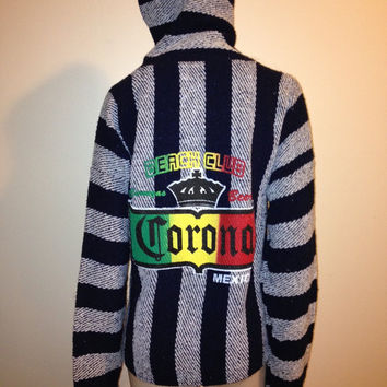 Vintage Vintage Corona Baja Hoodie black and white stripe X-Large