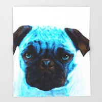 Blue Pug Dog Pop Art by Sharon Cummings Throw Blanket by Sharon Cummings | Society6