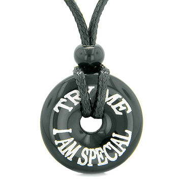 Inspirational Try Me I Am Special Amulet Lucky Charm Magic Donut Black Agate Fun Necklace