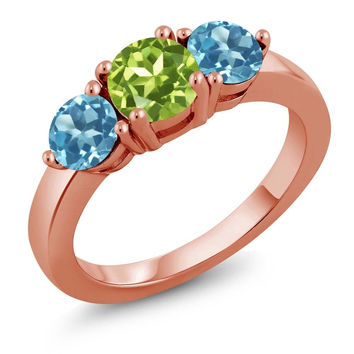 2.10 Ct Round Green Peridot Swiss Blue Topaz 18K Rose Gold Plated Silver Ring