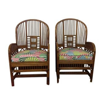 Pre-owned Vintage Chinoiserie Rattan Chairs - A Pair