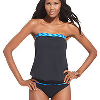 Anne Cole Swimsuit, Printed Bandeau Tankini Top & Banded Hipster Brief Bottoms - Swimwear - Women - Macy's