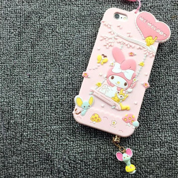 For iPhone 7 Case Soft Silicone Cover Fundas Capa For iPhone7 6s 6 Plus 3D My Melody MyMelod Cases With strap -0405