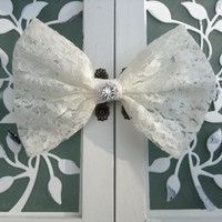 Cream Lace fabric hair bow with rhinestone center great for little girls teens and woman holiday hair accessories