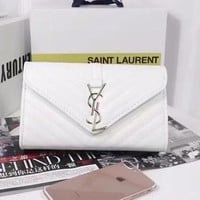 "Hot Sale YSL ""Yves Saint Laurent"" Fashion Women Shopping Metal Letter Logo Leather Satchel Shoulder Bag Crossbody White I"