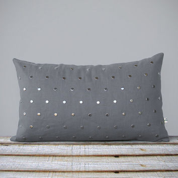 Silver Studded Pillow Cover in Gray Linen (12x20) Modern Home Decor by JillianReneDecor | Polka Dot Pattern | Metallic Studs | Aluminum