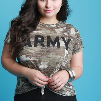 Army Camouflage Knotted Hem Top | UrbanOG