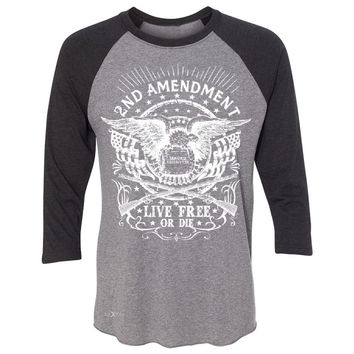 Zexpa Apparel™ 2nd Amendment Live Free or Die 3/4 Sleevee Raglan Tee Gun 1789 Bear Arms Tee