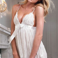 White Babydoll Draped Sexy Lingerie Sets