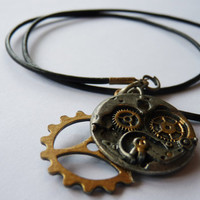 Steampunk Metallic Gear Necklace
