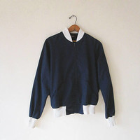 Vintage 80's JOCKEY Retro CANVAS Navy & White Ribbed Zip Front Jacket Sz M