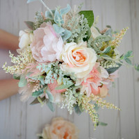 Wedding Flowers Bridal Bouquet Wedding Bouquets Peonies Roses Artificial Bouquet with Boutonniere Blush Pink Brooch Bouquet